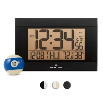 Elite Series Atomic Wall Clock, Auto Night Light, w/Temp. & Humidity (BLACK)