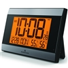 Elite Series Atomic Wall Clock, Auto Night Light, w/Temp. & Humidity (GREY)
