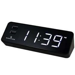 Marathon LED Alarm Clock with Two Fast Charging, Front Facing USB Ports (Black)
