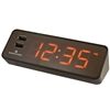 Marathon LED Alarm Clock with Two Fast Charging, Front Facing USB Ports (Coco)