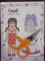 """Candi"" Paper Doll & Scissors Set for 18 Doll"