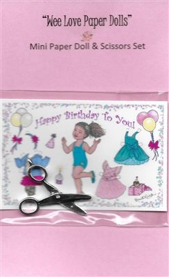 "Mini ""Birthday Harmony"" Paper Doll & Scissors Set"