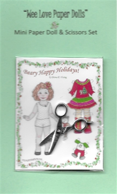 "Mini ""Beary Christmas"" Paper Doll & Scissors Set"