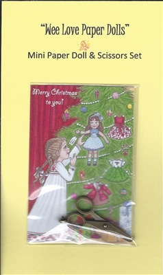 Mini Christmas Paper Doll & Scissors Set