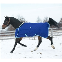 1200 Denier Hug Prize Medium Turnout Blanket, 200 grams insulation, Navy body/Lt Blue trim.