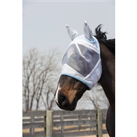 Fly Mask, White/Light Blue.  May Special: Free fly mask with fly sheet purchase