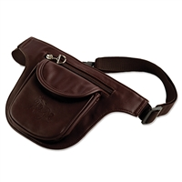 Faux Leather Fanny Pack, 2 Pocket, Debossed Galloping Horse
