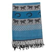 Pashmina/Silk Scarves, Horses & Horseshoes pattern