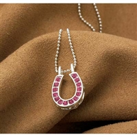 Necklace with Pink Rhinestones Horseshoe