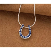 Horseshoe Pendant with Blue Rainbow Rhinestones