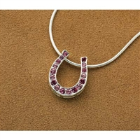 Horseshoe Pendant with Pink Rainbow Rhinestones
