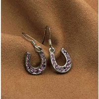 Rhinestone Dangle Horseshoe Earrings, Pink