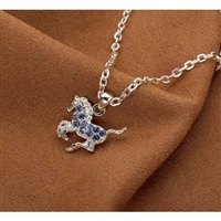 Galloping Horse Necklace, Blue Rhinestones