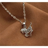 Galloping Horse Necklace, Clear Rhinestones