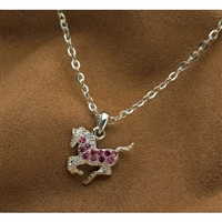 Galloping Horse Necklace, Pink Rhinestones