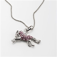 Running Horse Rhinestone Necklace, Pink