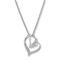 Necklace, Mare & Foal in Heart, Cubic Zirconia