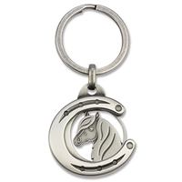 Horseshoe Keyring with removable Horse Head Coin/Pendant
