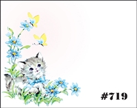 Falls 719 Enclosure Card - Blue Flowers with Kitten