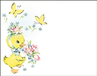Falls 832  Enclosure Card - Duckling with Flower Basket and Butterflies