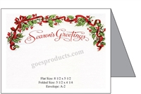 Seasons Greetings - Holly & Ribbon Baronial Card