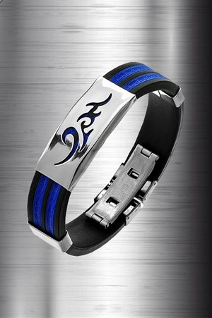 Stainless & Rubber Tribal Bracelet