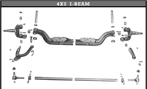 Willys America 4X2 I-Beam Front Axle King Pin Set for