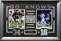 "Bo Jackson Dual 8x10's Raiders/Royals & ""Bo Know"" Card Framed"