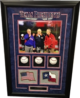 Texas Presidents 3-Ball Shadow Box