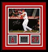 Mike Trout Signed 16x20 w/Double Logo + Bio Plate Framing