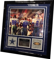 Aikman/Irvin/Smith Signed 16x20 w/HOF Inscriptions Framed