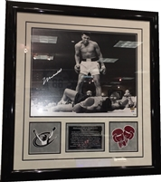 Muhammad Ali Signed 16x20 Standing Over Sonny Liston Framed