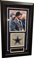 Tom Landry Signed 8x10 w/Drop Down Logo Framed