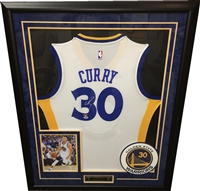 Steph Curry Signed & Framed White Warriors Jersey