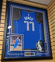Luka Doncic Signed & Framed Blue Mavericks Jersey
