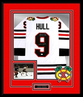 Bobby Hull Signed and Framed Blackhawks Jersey