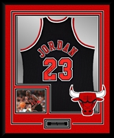 Michael Jordan #23 Signed & Framed Black Bulls Jersey, UDA