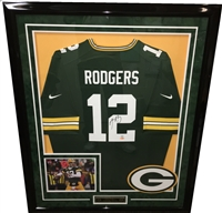 Aaron Rodgers Signed Packers Jersey Framed