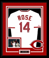 Pete Rose Signed and Framed Reds Jersey