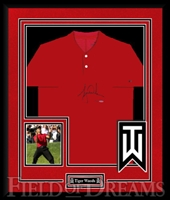 Tiger Woods Signed & Deluxe Framed Sunday Red Golf Polo