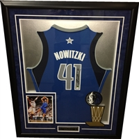 Dirk Nowitzki Signed & Framed Blue Mavericks Jersey