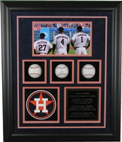 Houston Astros Triplets 3-Ball Shadow Box