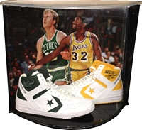 Larry Bird-Magic Johnson Signed Shoe Set w/Case