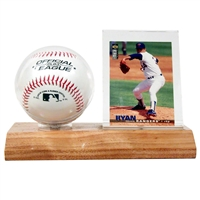 Baseball and Card holder wood base