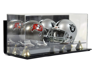Deluxe Double Mini Football Helmet case wall mountable