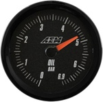 AEM Analog Oil Pressure Display Gauge (0 - 6.9BAR) - Black Face
