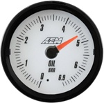 AEM Analog Oil Pressure Display Gauge (0 - 6.9BAR) - White Face