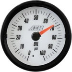 AEM Analog Oil Pressure Display Gauge (0-100psi) - White Face