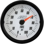 AEM Analog Fuel Pressure Display Gauge (0-100psi) - White Face