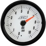 AEM Analog Oil Pressure Display Gauge (0-10.2BAR) - White Face